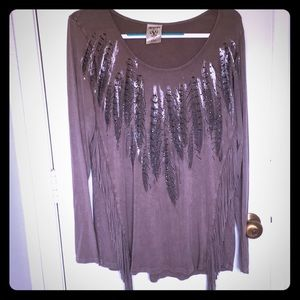 Vocal Long sleeve Fringes and Feathers Tan Blouse